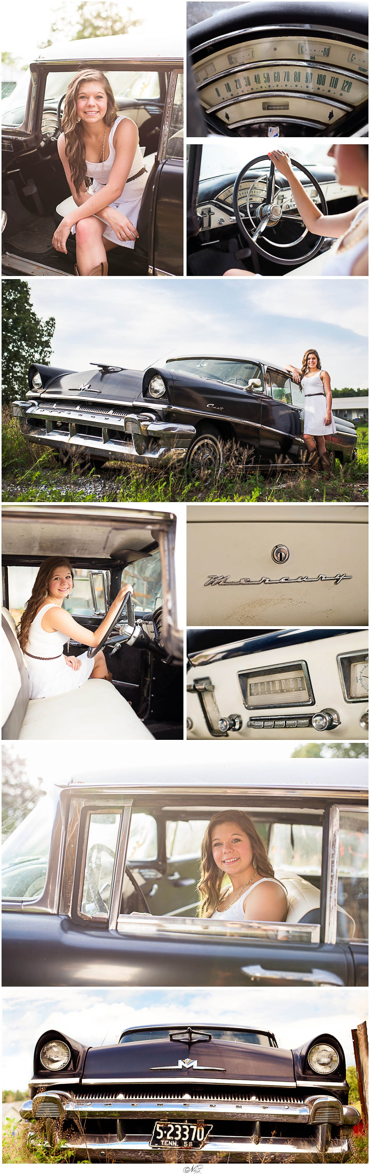 senior session antique mercury car