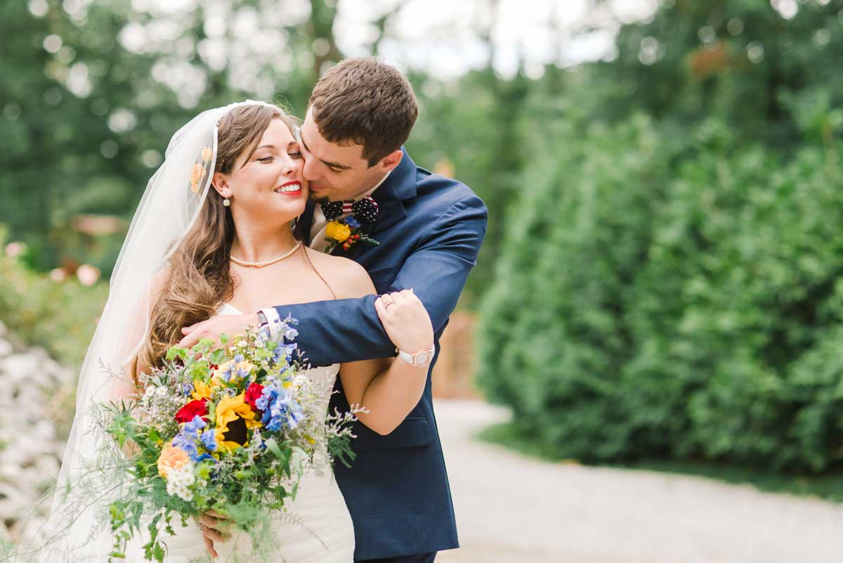 bride and groom in smoky mountains