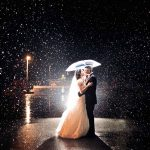 bride and groom umbrella in rain Tellico Plains TN