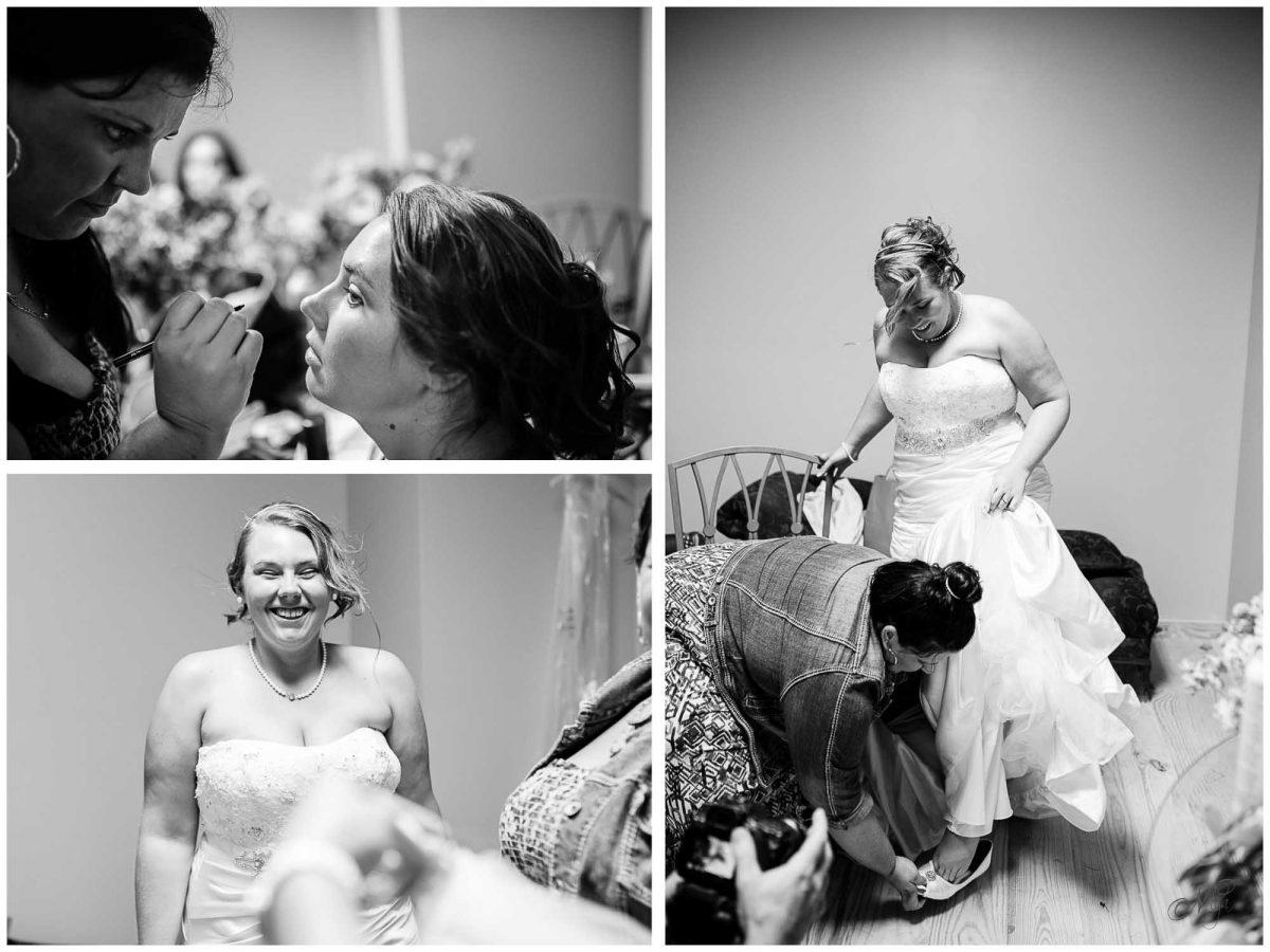 bride and bride's maids getting ready at Stinnett Farm wedding venue in Rogersville TN
