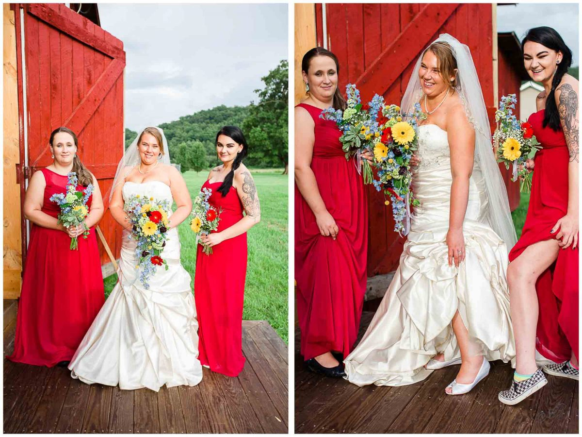 bride and her bridesmaids outside Stinnett Barn