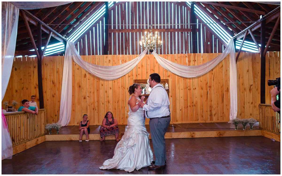 first dance during wedding reception at Stinnett Farm in Rogersville TN