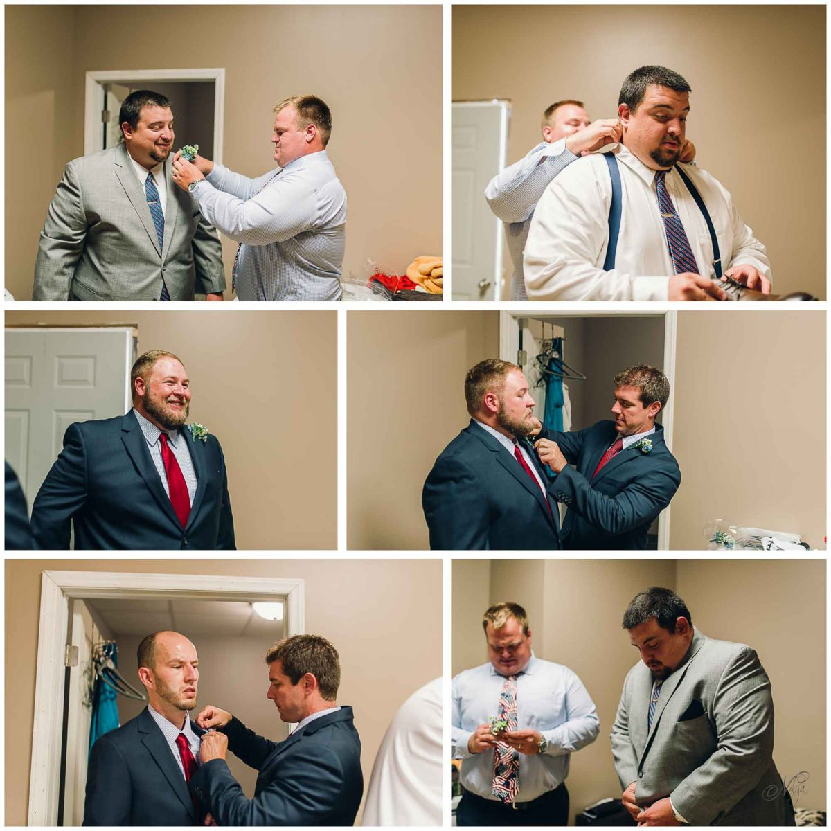 Groom and groomsmen getting ready at Stinnett Farm in Rogersville
