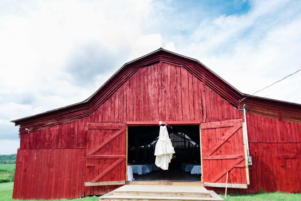wedding dress hanging from Stinnett Barn in Rogersville TN