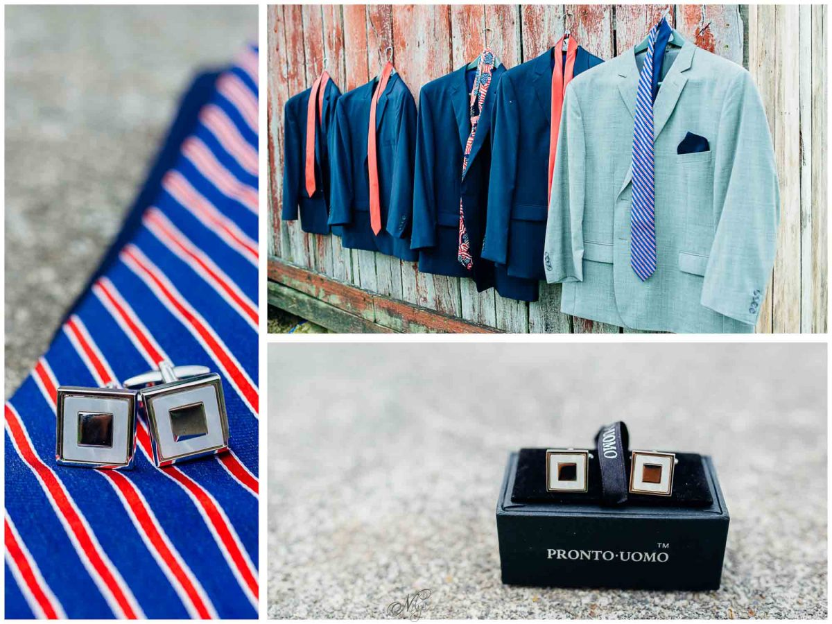 groom's tie, jackets and cufflinks at Stinnett Farm wedding