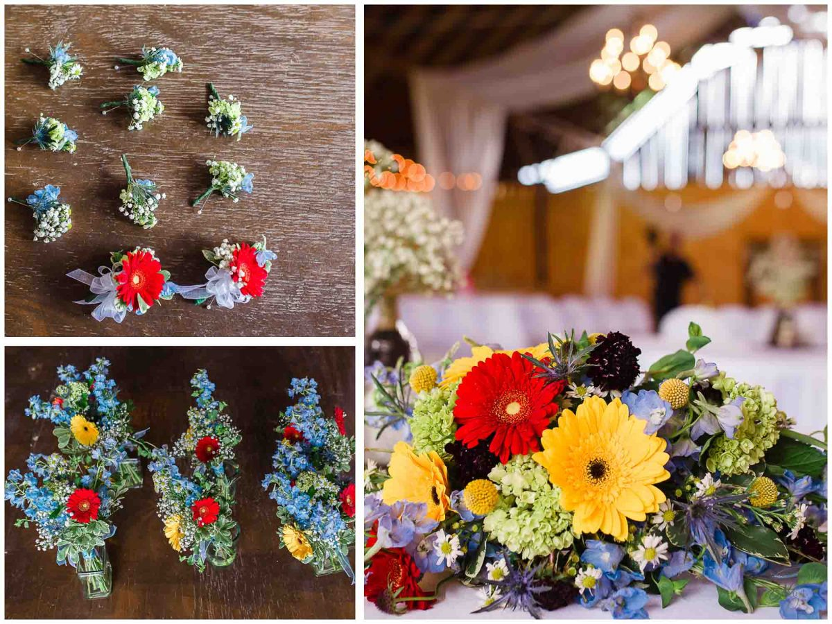 garden flower styled wedding bouquet and boutonniere at Stinnett farm in Rogersville TN