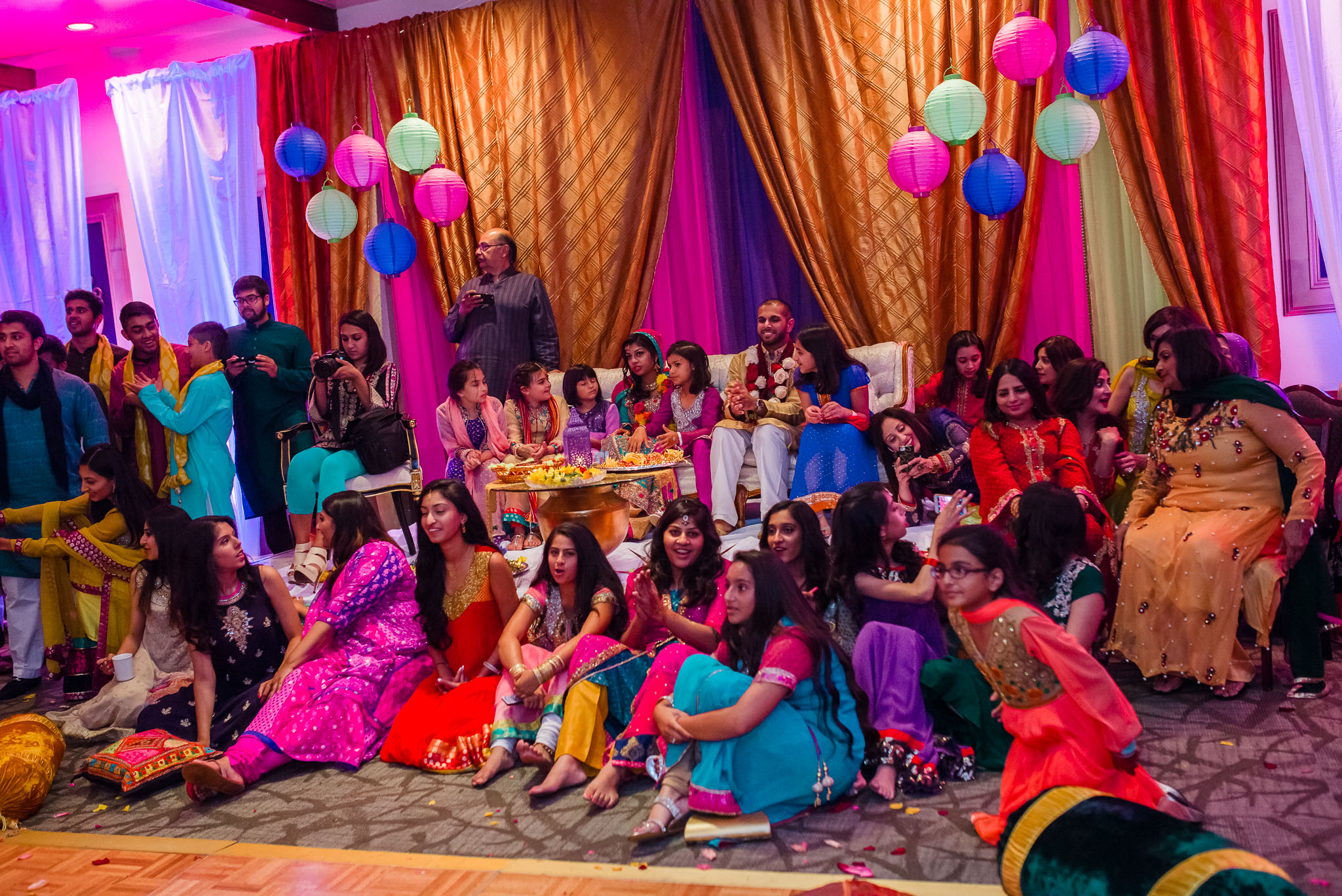 Mehndi Party guests watching dances at Wildwood country club Wedding