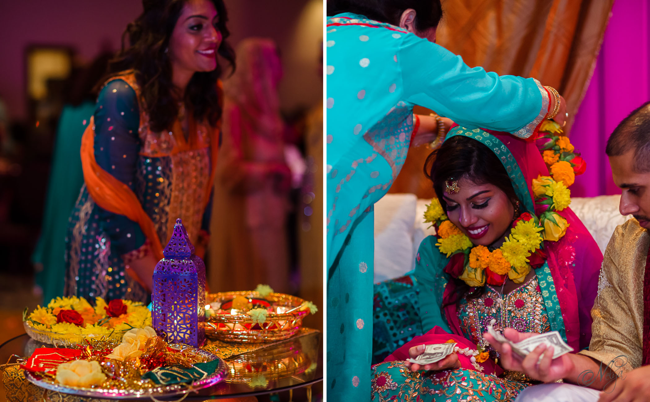 mehndi party teal and pink