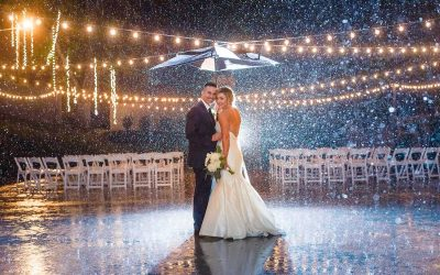 bride and groom under umbrella in the rain at The Venue in Chattanooga