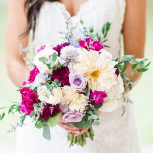 BOLD COLORED WEDDING BOUQUET BY FOX AND FERN