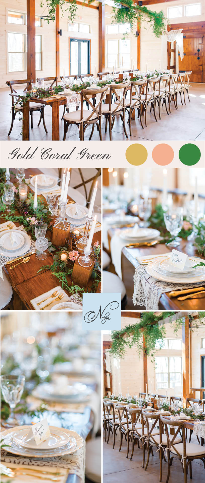gold, green and coral themed wedding decor at Hiwassee river weddings