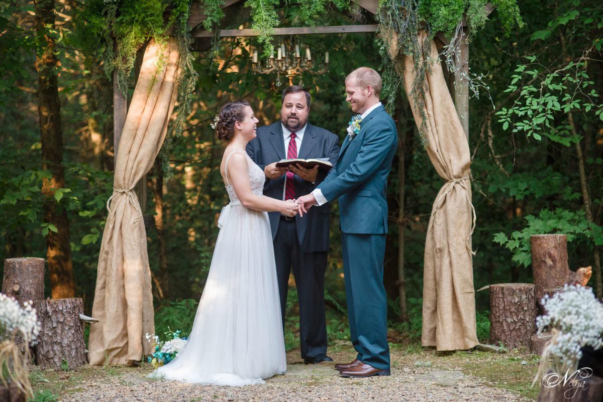 wedding ceremony in the woods