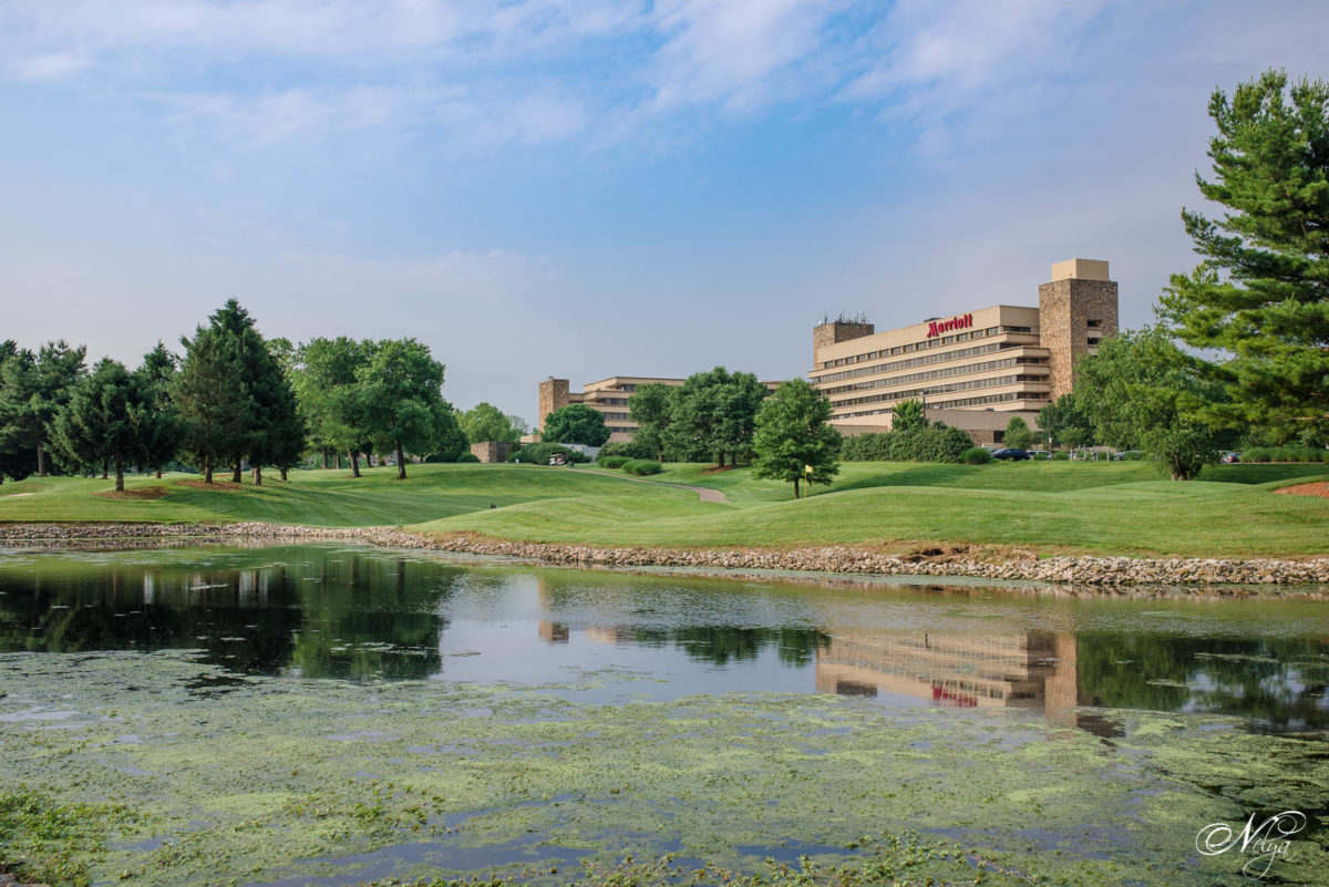 view of Griffin Gate Marriott in Lexington KY reflecting in the pond