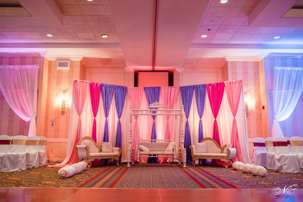 griffin Gate Marriott grand ballroom set up for the sangeet