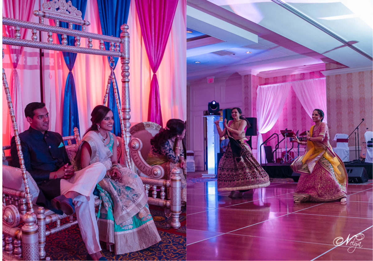 bride and groom watching her sisters sangeet dance at griffin gate marriott
