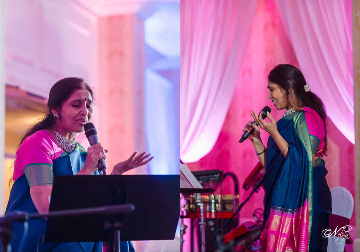 guest sings at sangeet in griffin gate grand ballroom