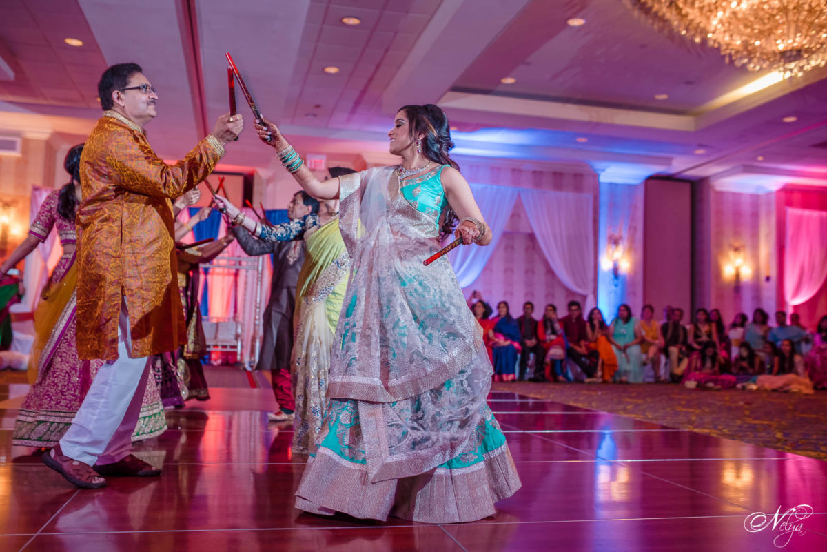 bride dancing Raas at griffin gate grand ballroom