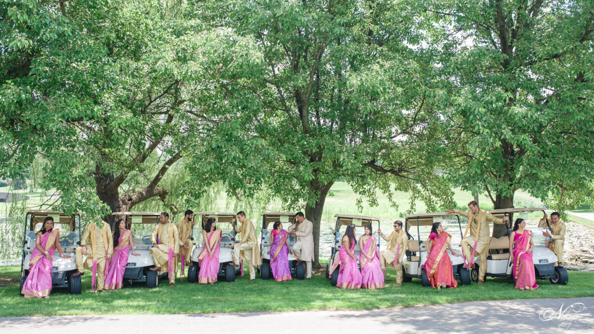 wedding party with golf carts on griffin gate golf course