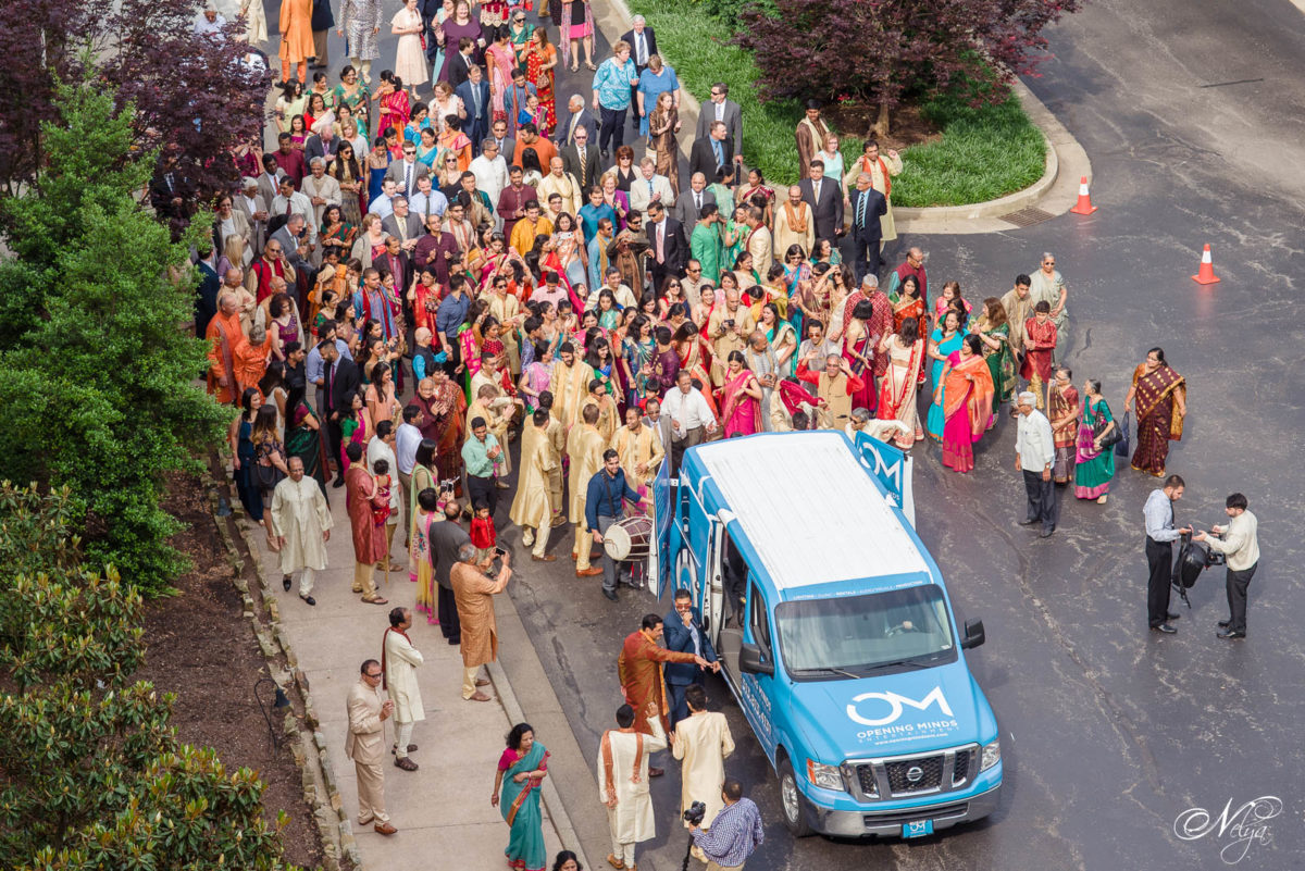 Baraat led by DJ Vikas of Opening Minds Entertainment approaching the the Griffin gate entrance