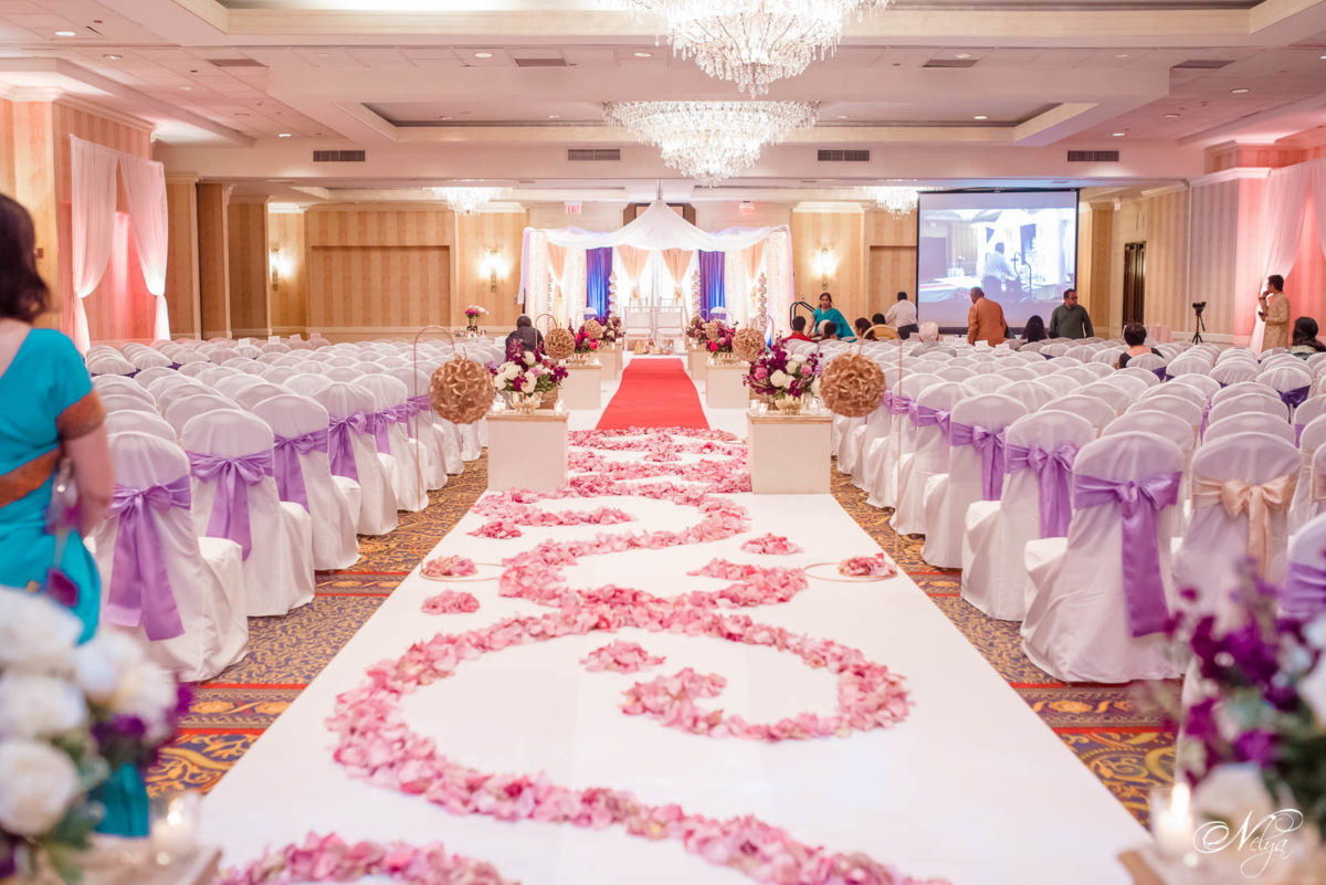 the grand ballroom decorated for wedding ceremony at griffin gate
