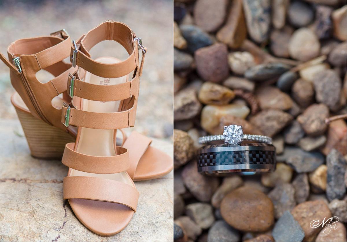 brown wedges and wedding rings