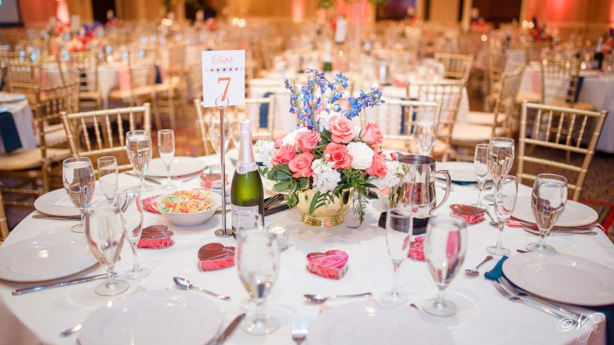tablescapes with roses and larkspur at griffing gate wedding reception