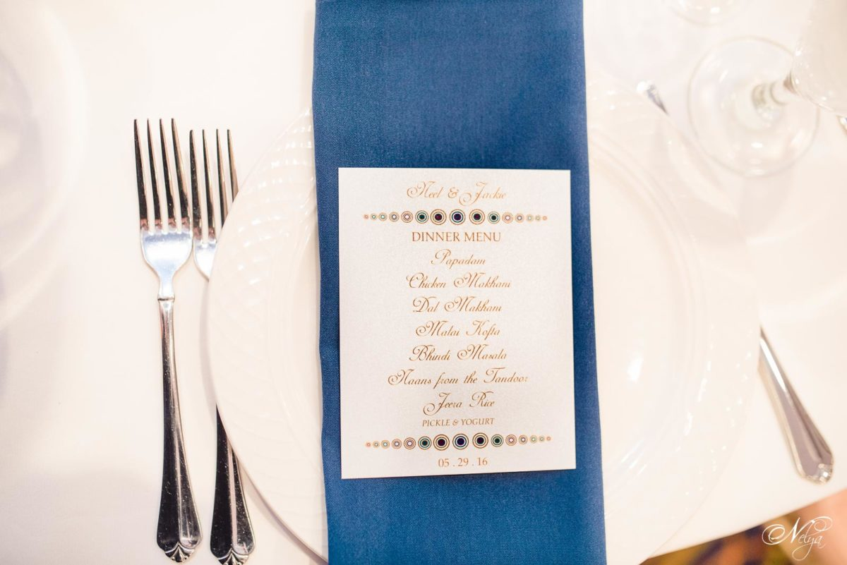 menu and place settings at griffin gate wedding reception