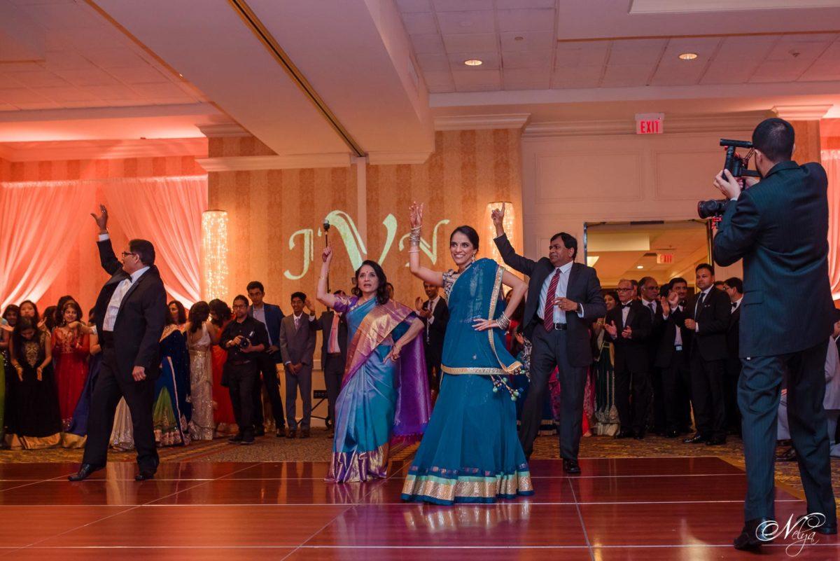 indian wedding dance at wedding reception dinner
