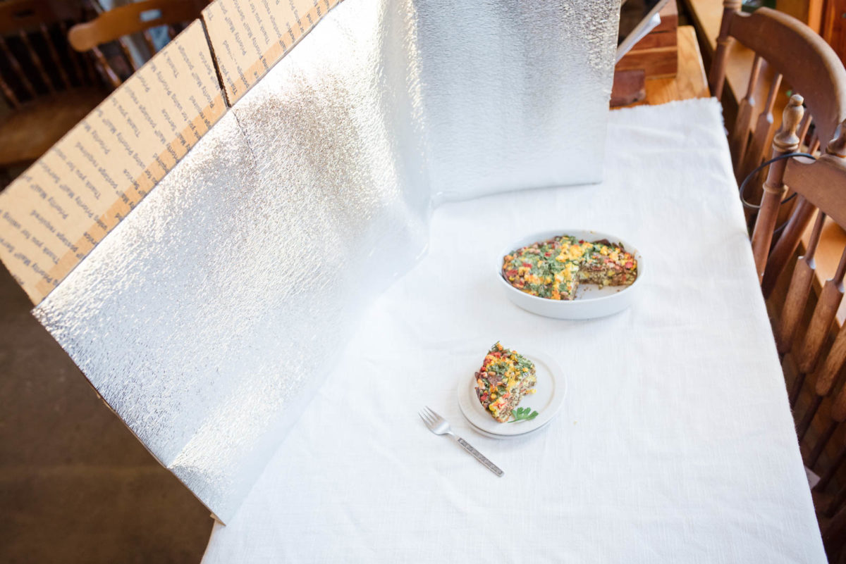 pull back shot with my reflector hack for food photography
