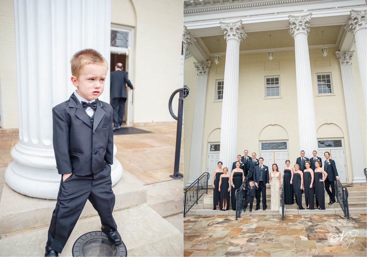 ring bearer and wedding party at peachtree road united methodist church in Atlanta