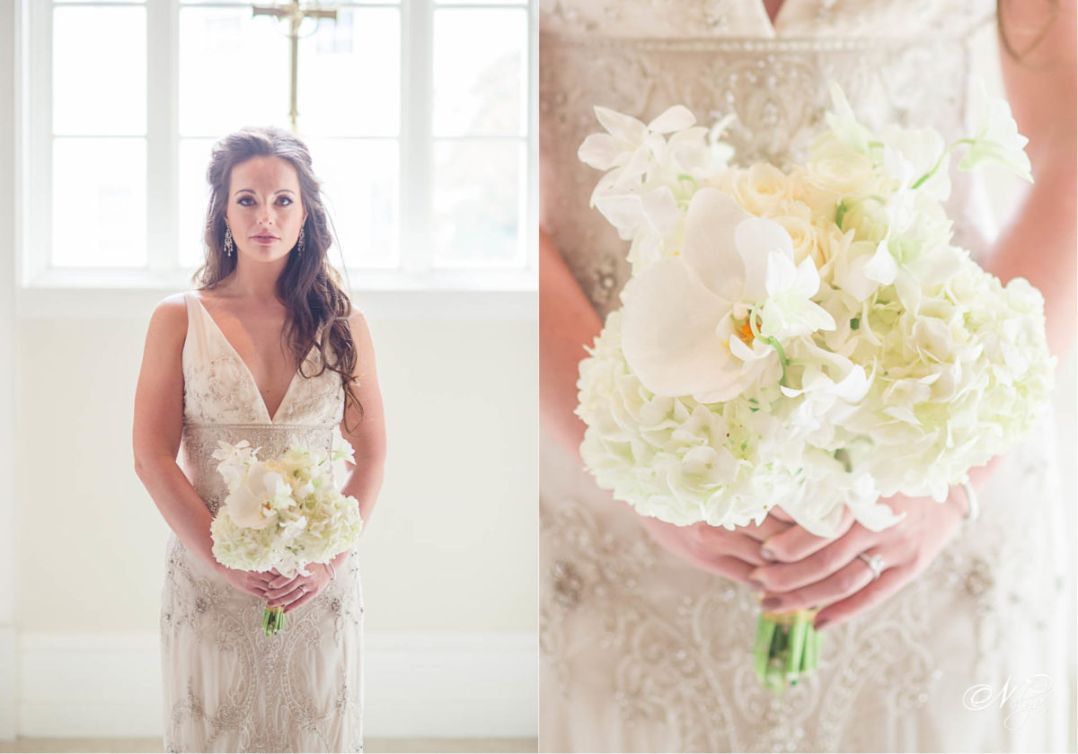 bride and white rose and hydrangea bouquet
