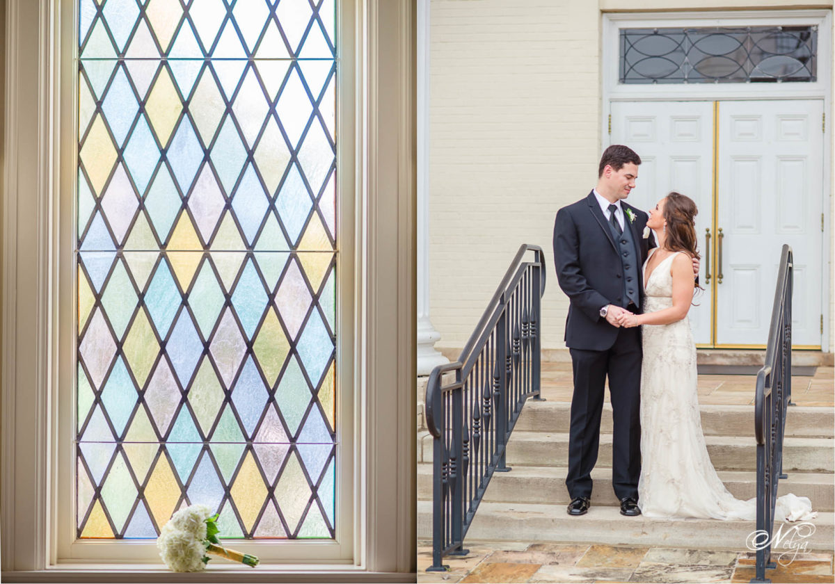 preachtreeroad church stained glass window and bride and groom in front of church