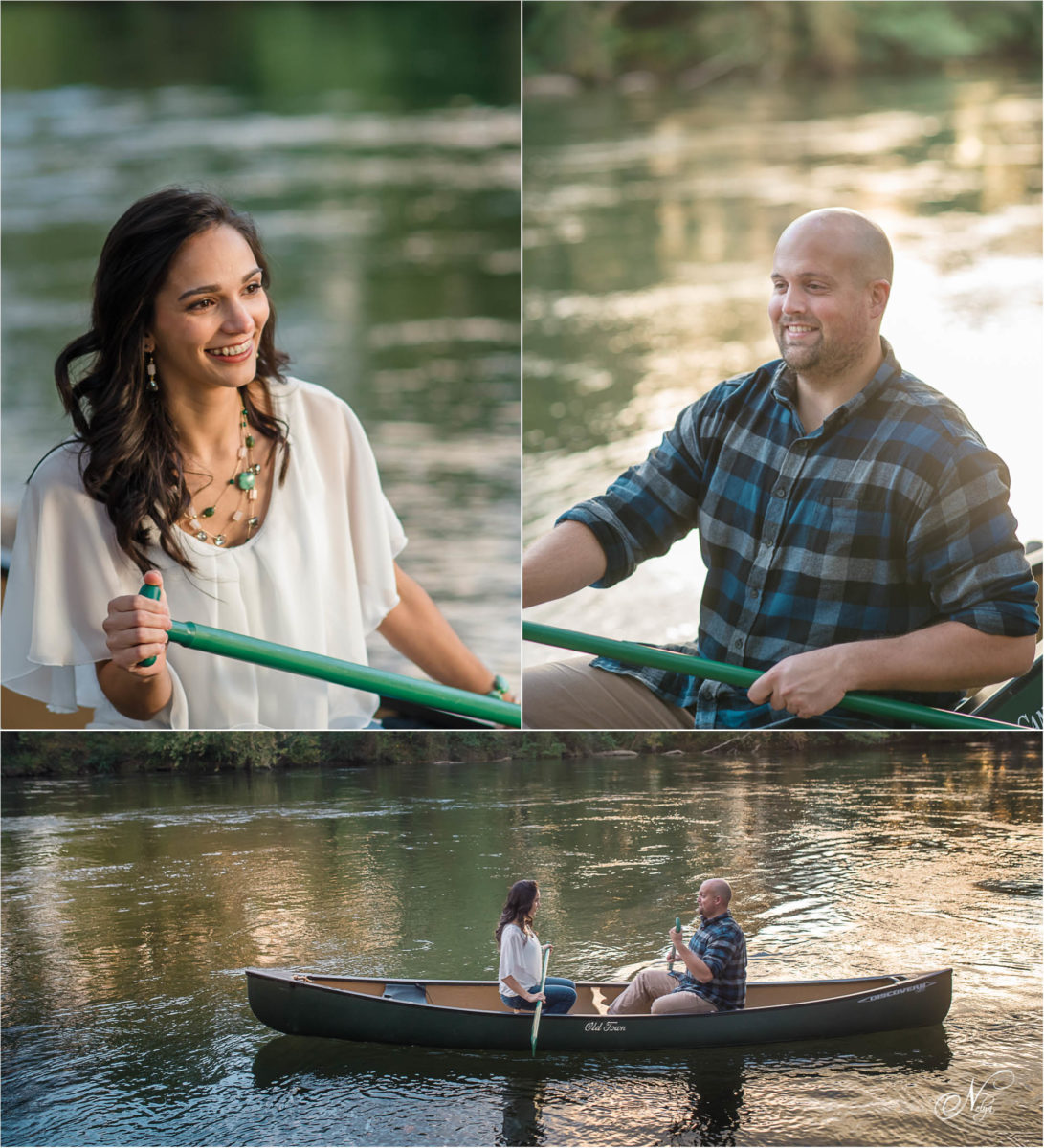 couple in old town canoe in front of Hiwassee River Weddings wedding venue