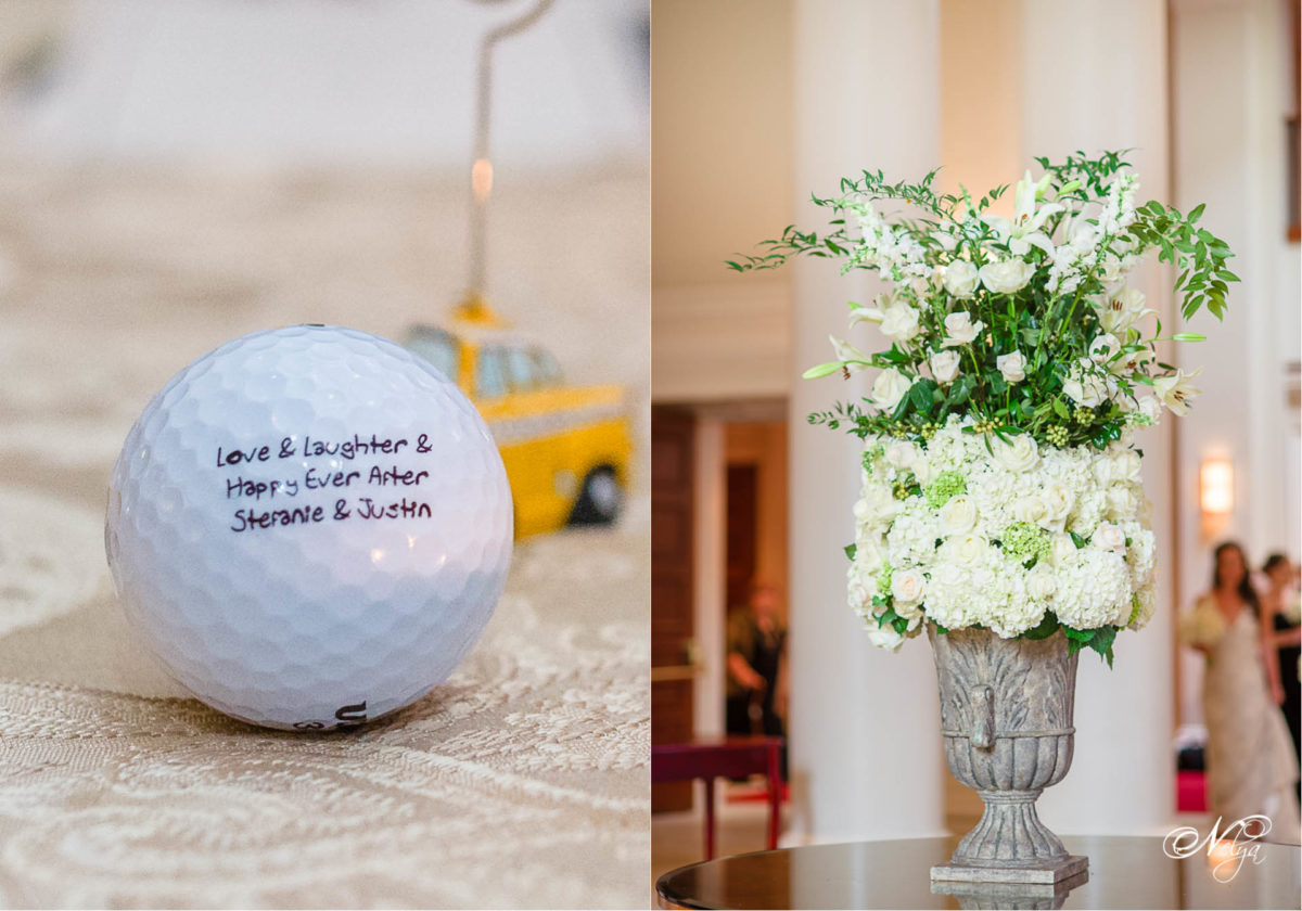 golf wedding favors and floral centerpiece