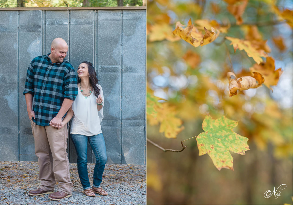 engagement photo of couple in front of tin gate Delano TN