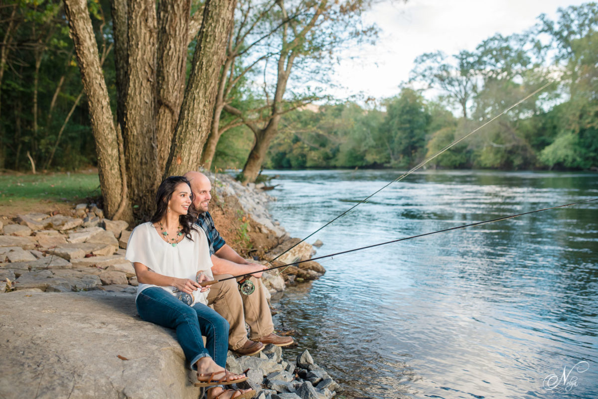 fishing in front of Hiwassee River Wedings from the new stone steps
