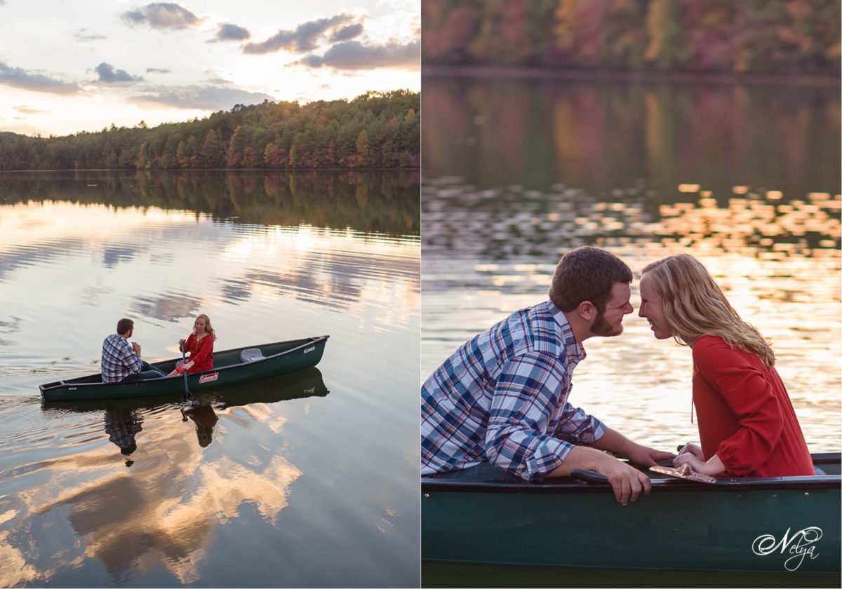 couple in canoe at sunset at Indian Boundary Lake TN