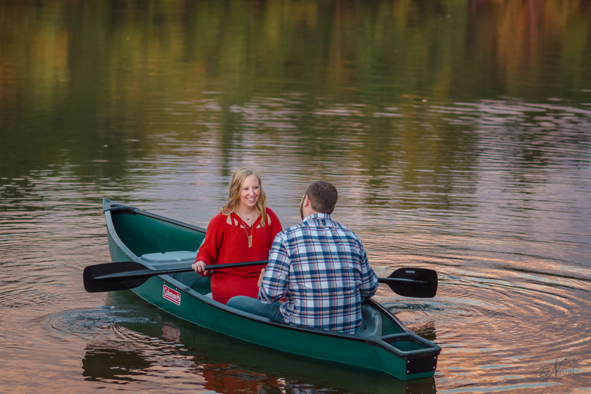 green colman canoe engagement photos at Indian Boundary Lake