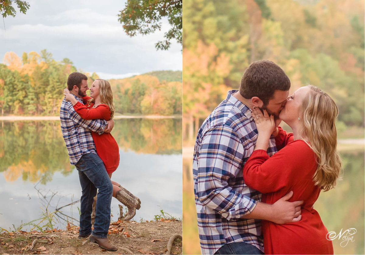 couple on north facing shore of Indian Boundary Lake for their Fall engagement pictures