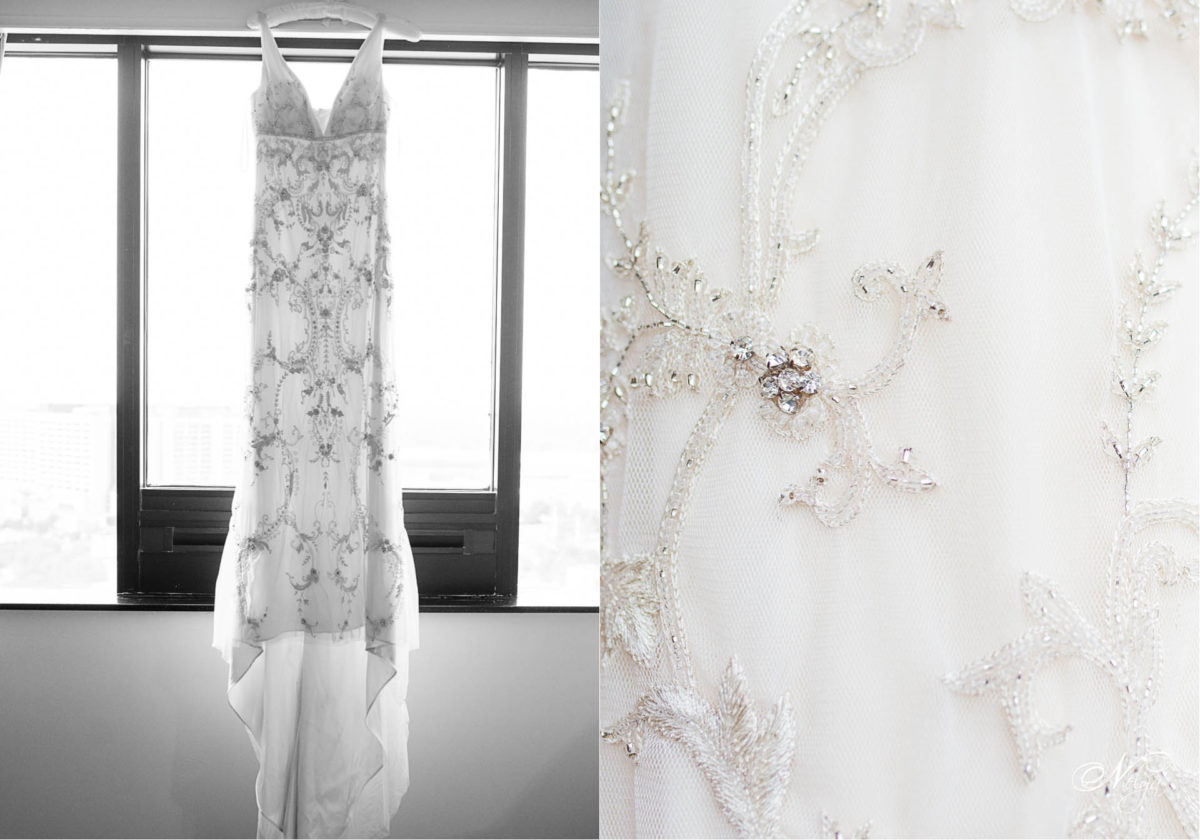 Bride's dres that her mother wore hanging at ritz Carlton in Atlanta