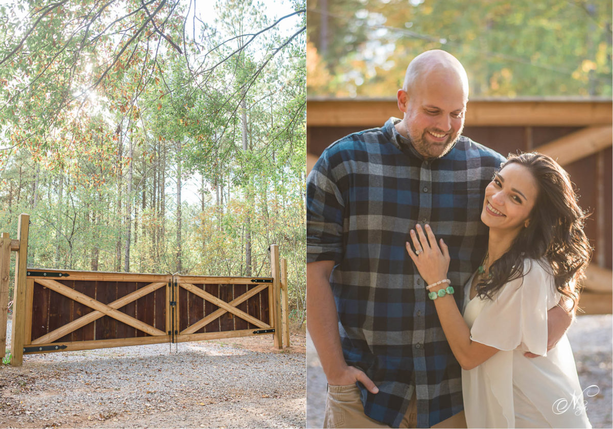 Hiwassee River Weddings saw mill shed gate and laughing couple in front of gate