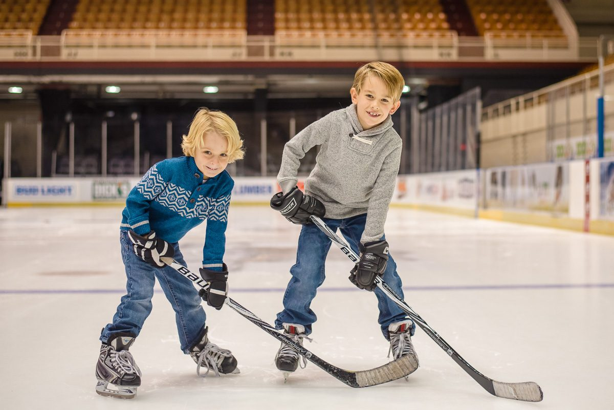 brothers on the ice at Knoxville civic Coliseum