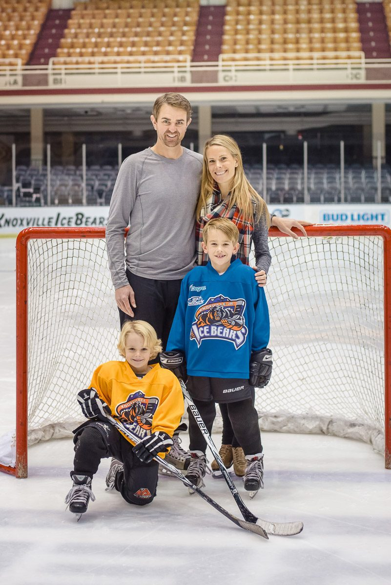 Hockey Holiday family in skates on the ice at Knoxville civic coliseum