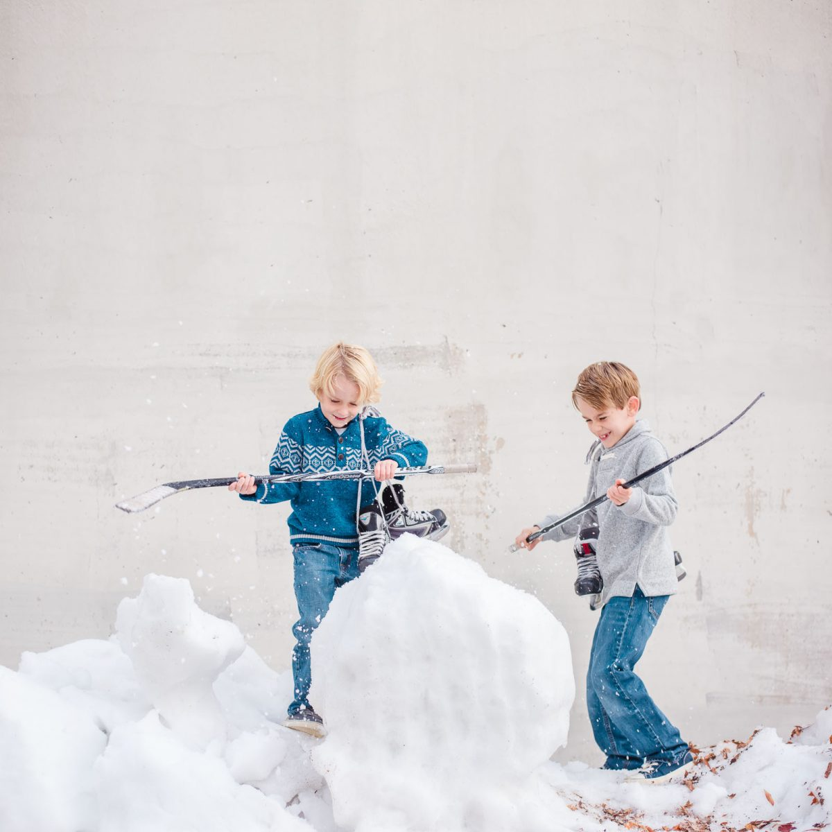 beating a snowball with hockey sticks behind Knoxville Civic coliseum