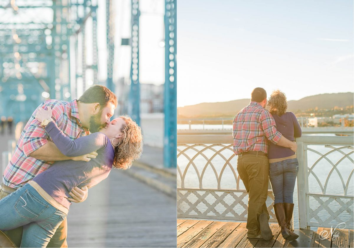 couple pausing for a kiss on walnut st bridge at Coolidge park in Chattanooga TN