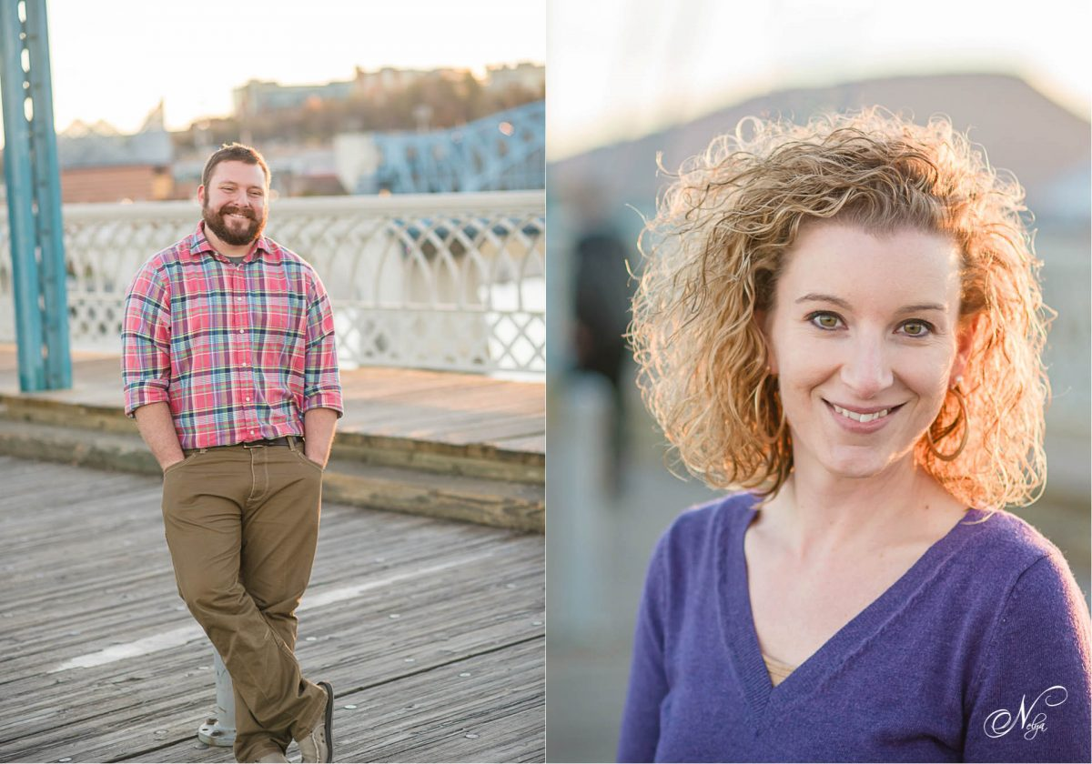 portraits in the Walnut st bridge at sunset in Chattanooga TN