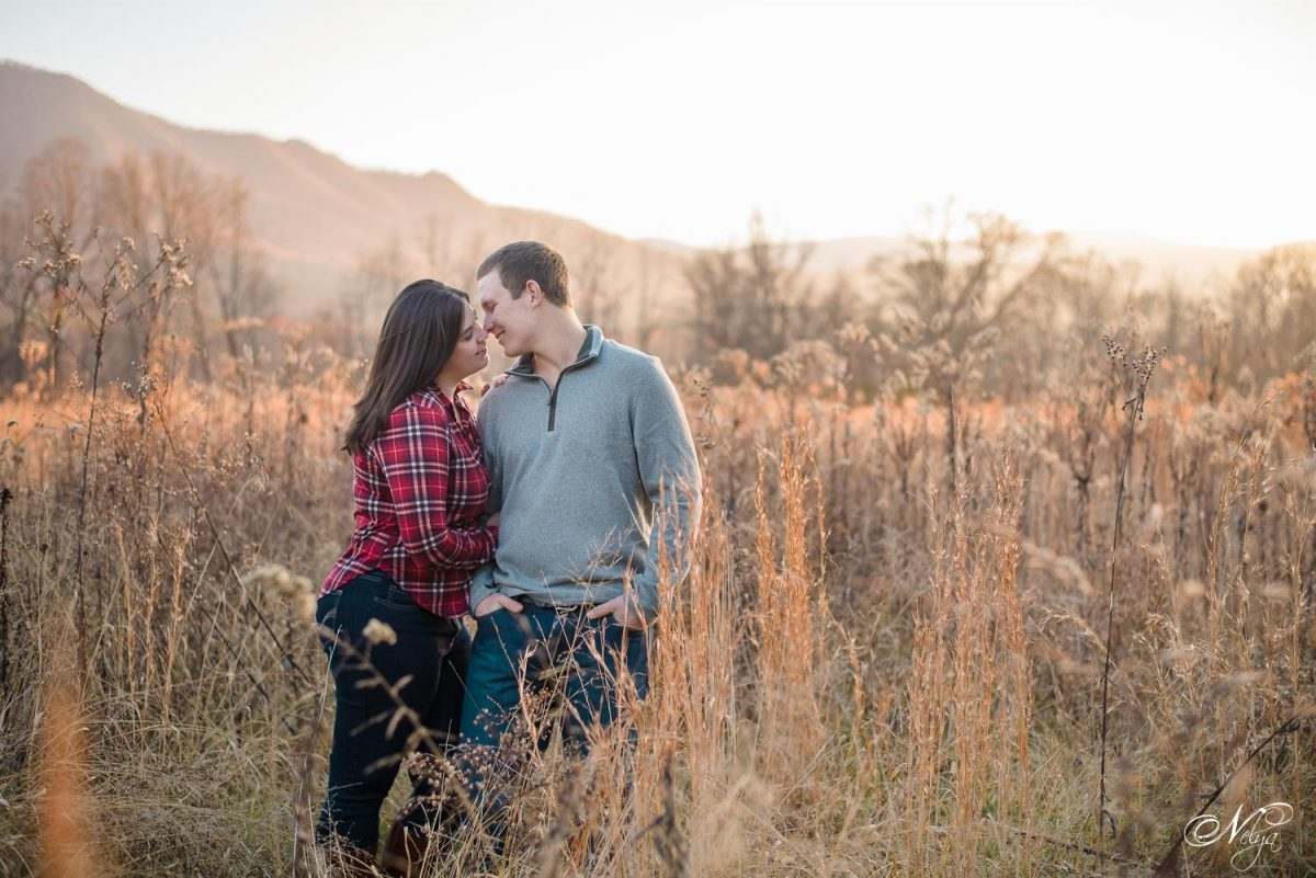engagement photos in field at Cade's Cove TN