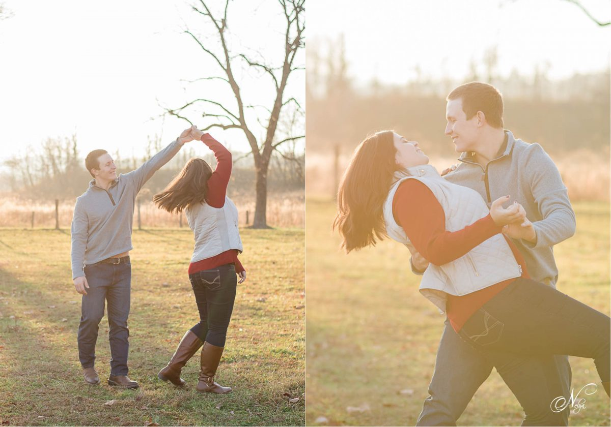couple dancing in field at Cade's Cove in the Smokies