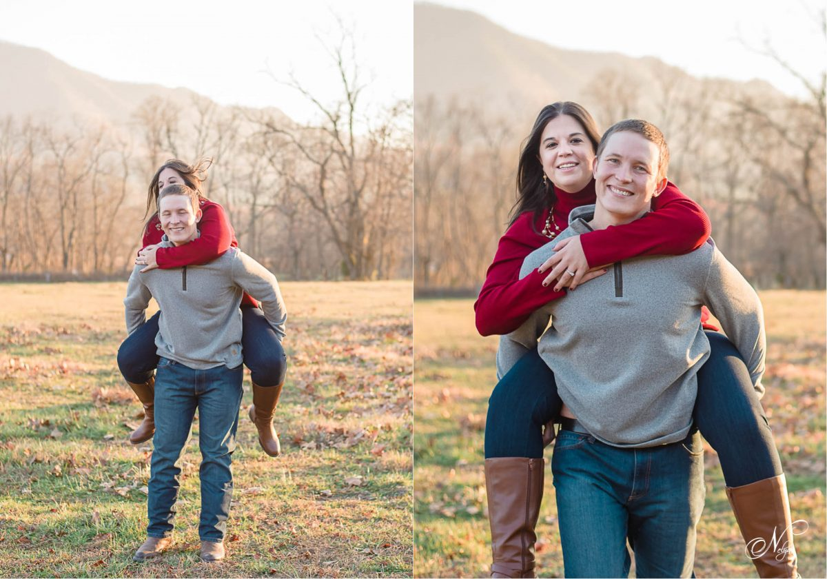 guy giving girl piggy back ride at Cade's Cove