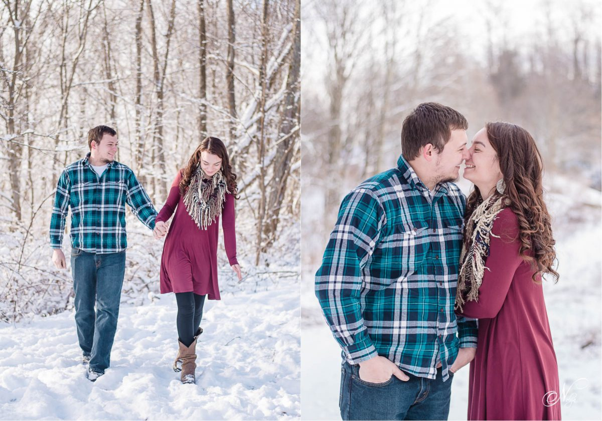 snow-engagement-photos-in-tellico-plains-tn-and-couple nose to nose